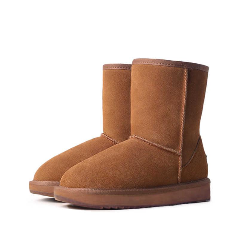 GOGC % 2018 yün kar botları rahat kadın kış ayakkabı kış kadın çizmeler ile kürk hakiki deri kadın ayakkabı Coogee 9717