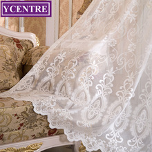 YCENTRE Decorative Semi jacquard Lace White Sheer Curtain Tulle Voile Panel Window for Living Room Kitchen Bedroom Door
