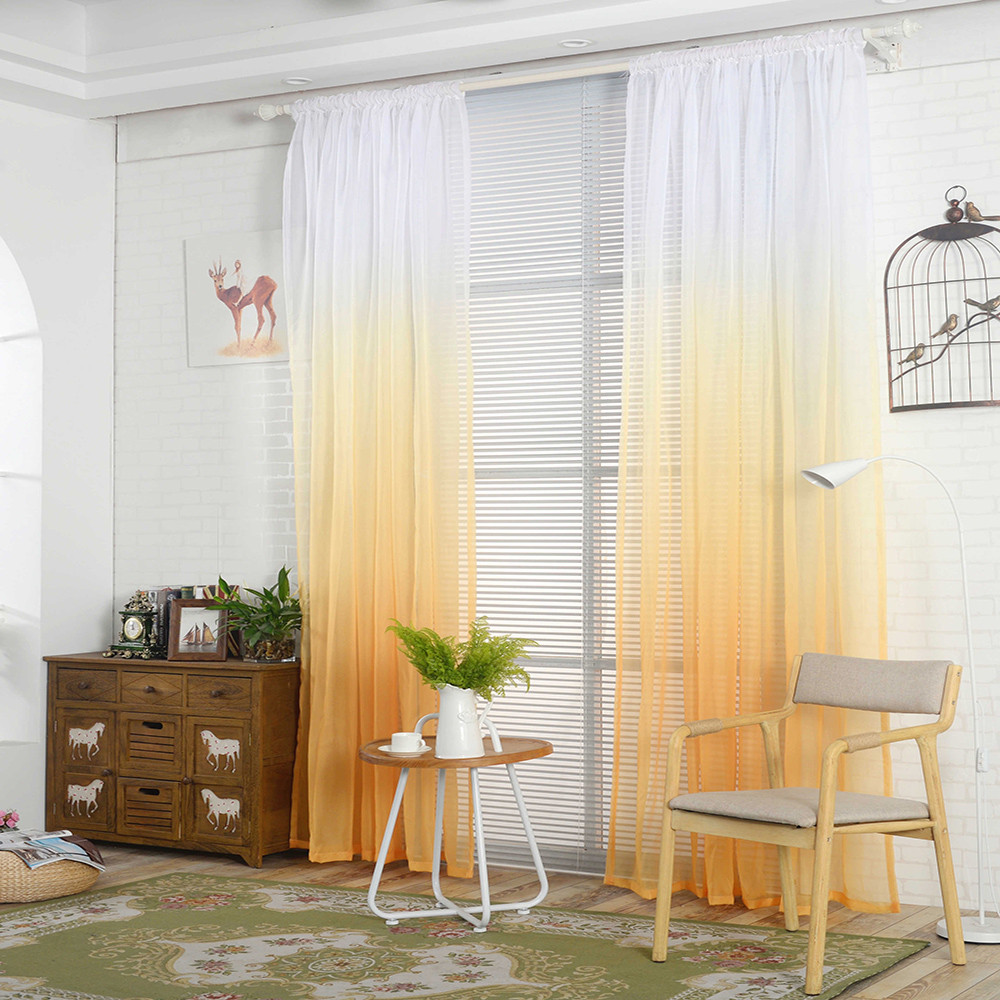 Ouneed Gradient Sheer Curtain Tulle Window Treatment Voile Drape Valance 1  Panel Fabric*23 Curtains Partition Scarf