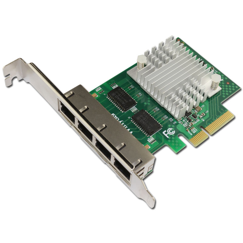 PCIe x4 Quad port Gigabit Ethernet Network Card 1000M I350AM4 Chipset for  Server-in Network Cards from Computer & Office