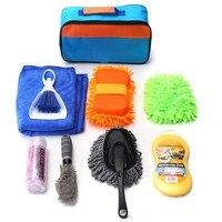 Universal 9 PCS Set Car Interior Exterior Cleaning Kit Tools Sponge Brush Glove Pack Towel
