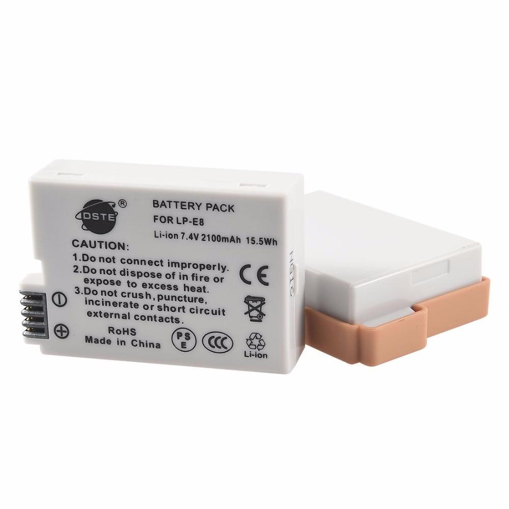 DSTE 2 PCS LP-E8 lp-e8 Caméra Batterie pour CANON 550D 600D 650D 700D X4 X5 X6i X7i T2i T3i T4i T5i
