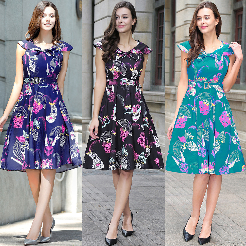 Dress Women Of Large Number Goods In Stock Europe Station New Neck Exquisite Printing Pu ...