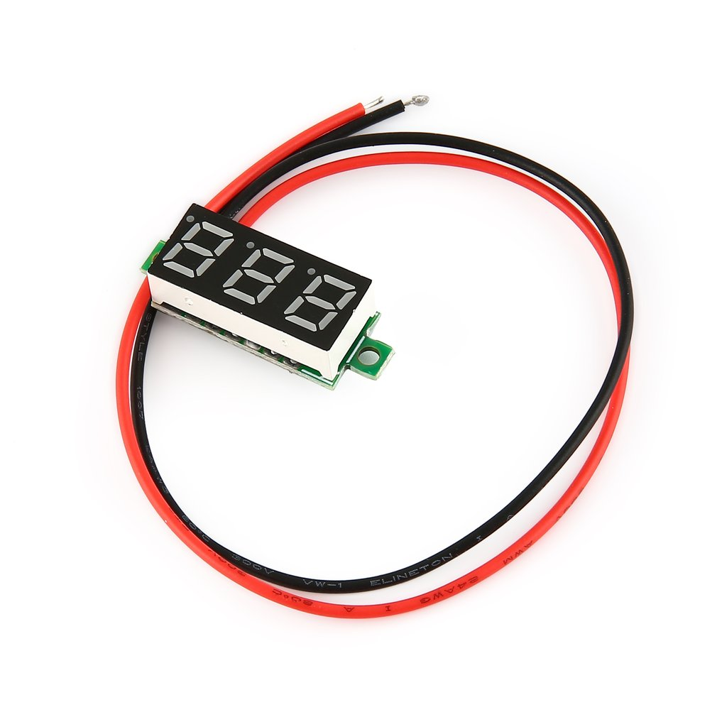 2.5-30V 0.28in 2 Wire LED Digital Display Panel Voltmeter Electric Voltage Meter Volt Tester for Auto Car MotorcycleRed