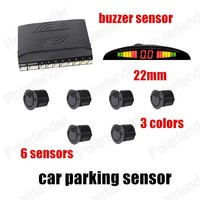 Car Video Parking Sensor Reverse Backup Radar System Alarm With 6sensors With Display Monitor 3 Colors