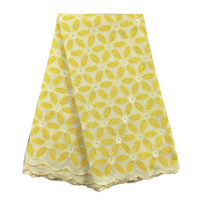 Ev ve Bahçe'ten Dantel'de 5 yards Sarı orijinal İsviçre vual dantel 075 Afrika dantel kumaş pamuk % 100% tam nakış benzersiz mükemmel düğün elbisesi'da  Grup 1