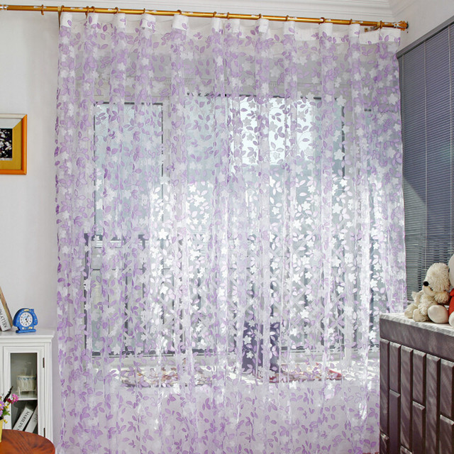 Us 3 44 44 Off Ouneed Leaf Sheer Curtain Tulle Window Treatment Voile Drape Valance 1 Panel Fabric 30 Roller Blinds 2017 Hot Sale In Curtains From