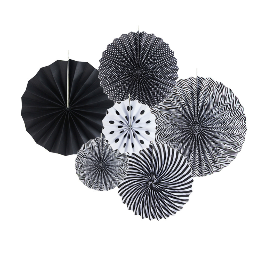 8pcs set Black White Paper Decoration Set Paper Fans Star Pleated Lantern for Birthday Party Garden Space Home Daily Decor in Party DIY Decorations from Home Garden