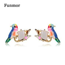 FUNMOR Classic Enamel Glaze Birds Stud Earrings Europe Fashion Party Ear Jewelry Women Girls White Opal Gem Animal Earring(China)