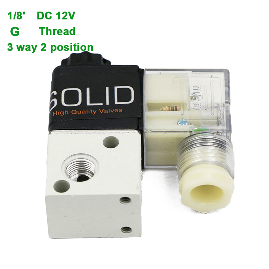 U.S.Solid 1/8 3 Way 2 Position Pneumatic Electric Solenoid Valve DC 12 V G Thread Aluminum Alloy ISO Certificated dc 24v 2 port 2 way 1 2pt female thread pneumatic electric solenoid valve