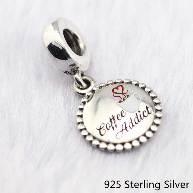 CKK 925 Sterling Silver Coffee Addict Dangle Charm, Mixed Enamel Original Beads