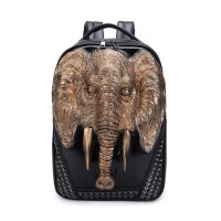 Cool Men Travel Backpack Men Elephant Animal Bags 15 Inch Laptop Computer Bag Fashion Black Gold