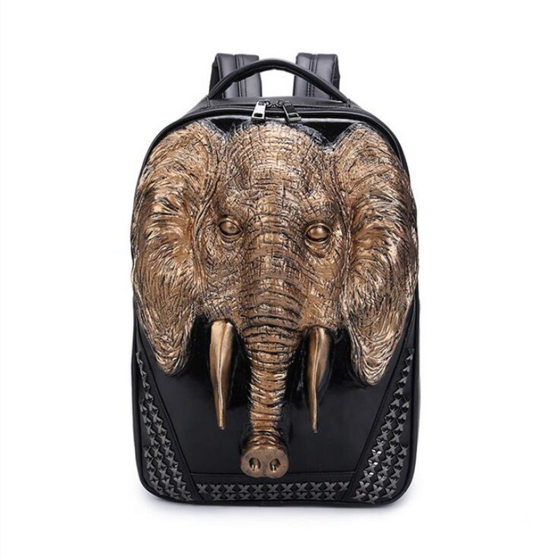 Cool Men Travel Backpack Men Elephant Animal Bags 15 Inch Laptop Computer Bag Fashion Black Gold Silver Rivet Leather Bags 3d lion leather backpacks fashion men school travel computer backpack bags personality silver gold rivet animal bags halloween