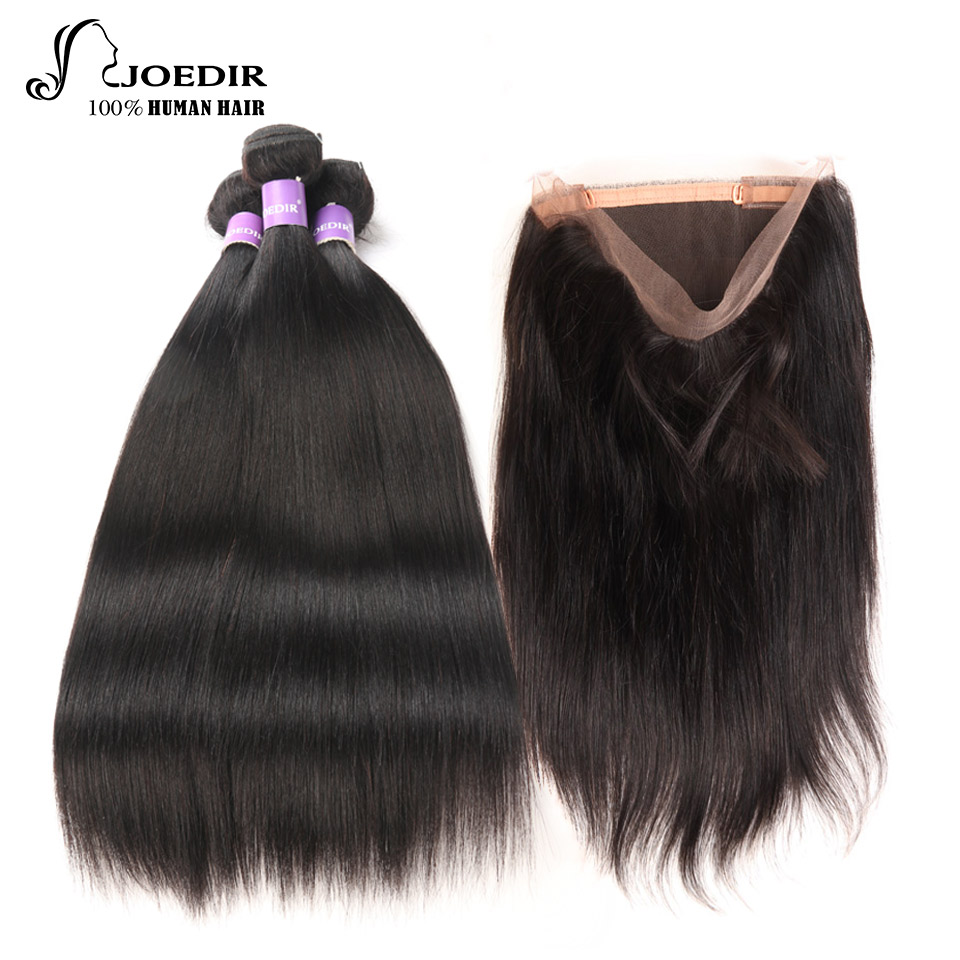 Joedir Pre-colored 360 Lace Frontal With Bundles Non Remy Peruvian Straight Human Hair Weave 4 Bundles With Frontal Closure