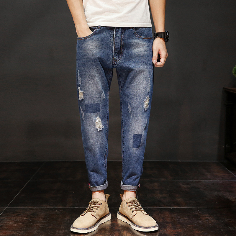 Brand Fashion Slim Fit Jeans Pants Washed Ripped Distressed Scratched Holes Cross-Pants Denim Trousers Streetwear Blue