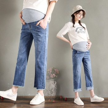 Summer Loose Women Denim Jeans Maternity Pant Pregnant Clothes Nursing Pregnancy Wide Leg Pants