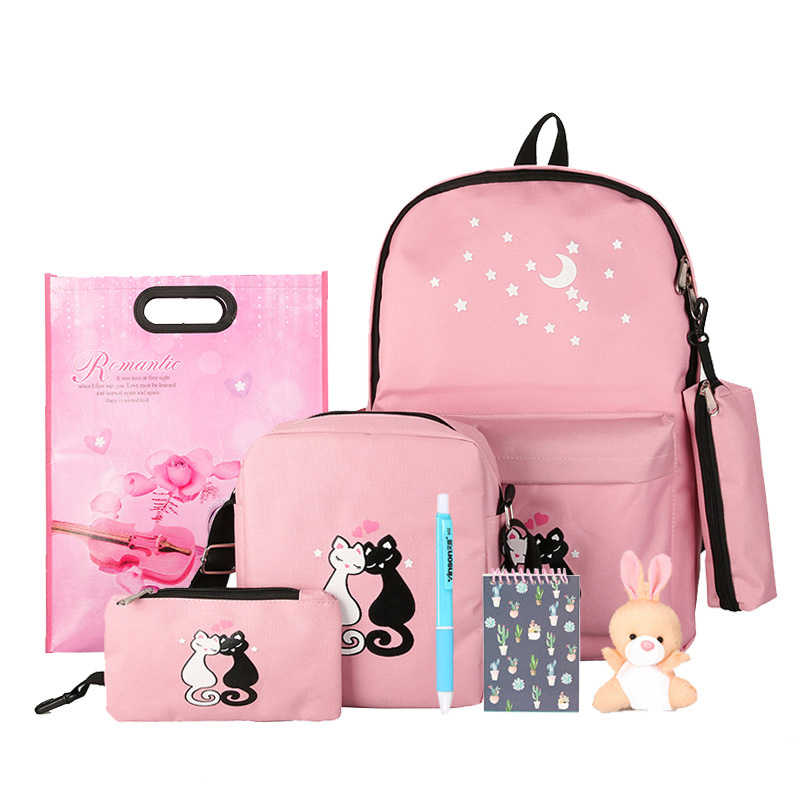 476a449f55 Detail Feedback Questions about 8Pcs Cute Animal Star Printing Backpack  Women Bookbags For Teenagers Girls School Backpack Set Women Canvas Backpack  School ...
