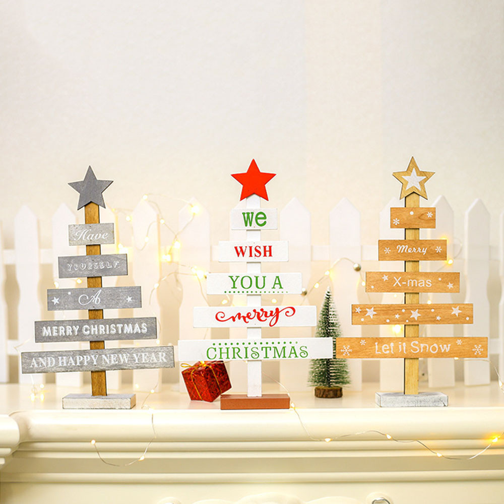 Us 174 47 Offmini Creative Wooden Christmas Tree Office Home Bedroom Desktop Ornaments Xmas Tree Happy New Year Party Decor Gifts Ep In Trees