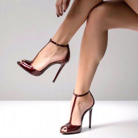 Concise Elegante T Strap Salto Alto Bombas Dedo Do Pé Redondo Plataforma Vestido Sapatos Aumento da Altura do Tornozelo Fivela T Bar Sexy Preto calçado - 6