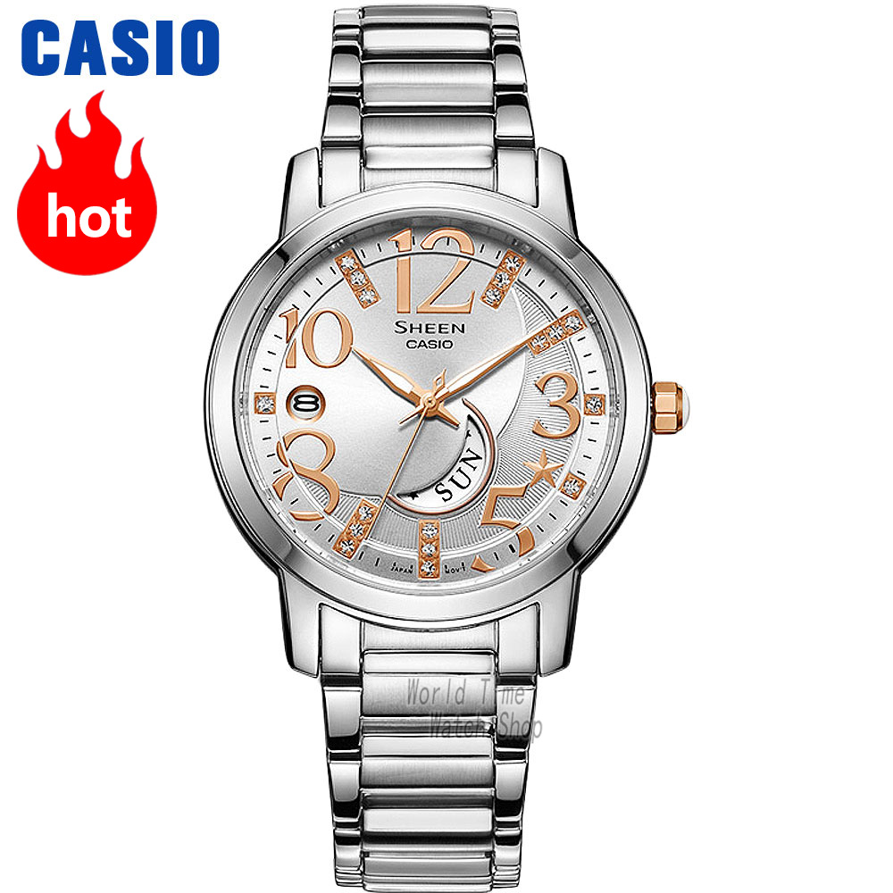 Casio horloge SHEEN dameshorloges Swarovski Crystal topmerk luxe set 50mWaterproof Quartz dameshorloge dames Roze goud Cadeaus Klok Sport horloge relogio feminino reloj mujer montre homme bayan kol saati zegarek damski-in Dameshorloges van Horloges op  Groep 1