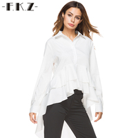 FKZ Irregular Autumn Women OL Blouses Solid Long Sleeve Single Buttoned Top Shirts Women Dovetail Blouse