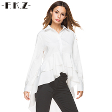 FKZ Irregular Autumn Women OL Blouses Solid Long Sleeve Single Buttoned top Shirts Women Dovetail Blouse Clothes 8523#