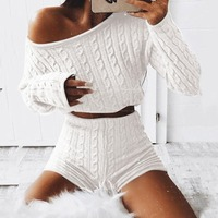 fashion Women Ladies Solid Off Shoulder Knitted Warm Short Crop knitted suits two piece set top and pants conjuntos de mujer