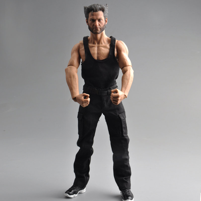 Male Black Wolverine Logan Vest & Long Pants 1/6 Scale Soldier Clothing Model Toys For 12 Man Action Figure Model Accessory
