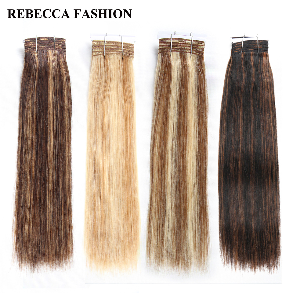 Rebecca Double Drawn Hair 113g Remy Brazilian Yaki Straight Human Hair Bundles 1 PC Balayage Brown 613 Blonde Red Piano Colors