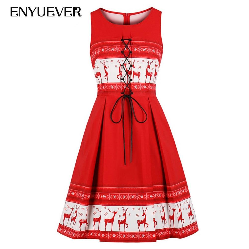 a626970562d Enyuever Red Christmas Dress Womens Tank Lace Up Vestido Vintage Snow Elk  Print Robe Noel Xmas