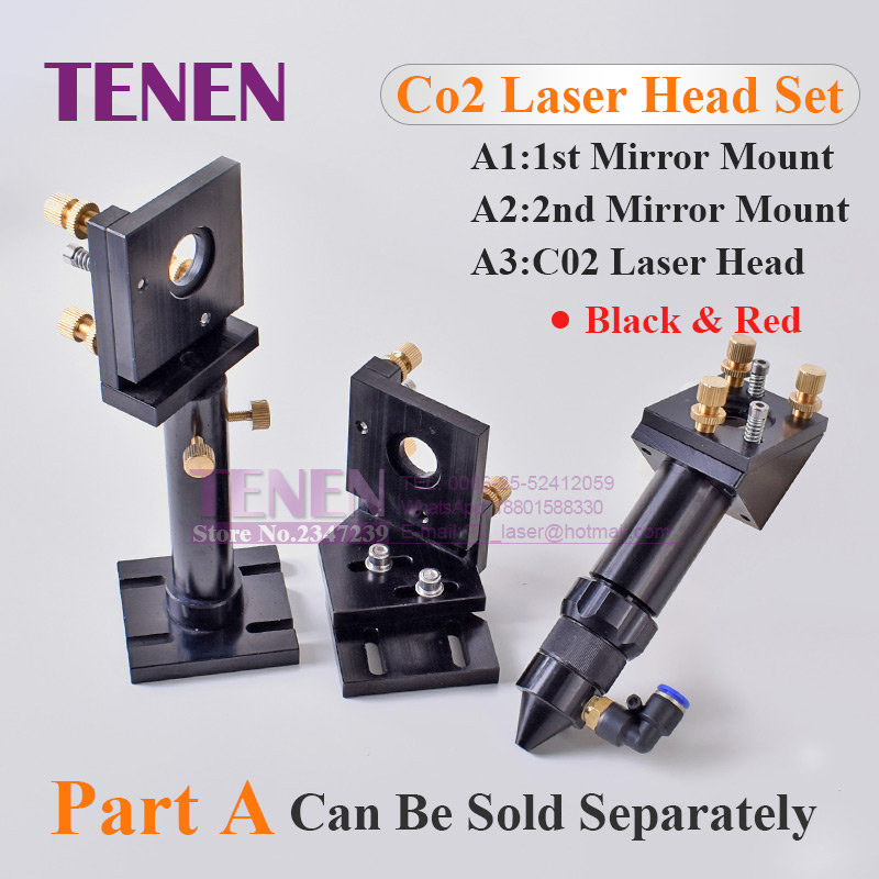 CO2 Laser Head Set / Reflective Mirror & Focusing Lens Integrative Fixture Mount Holder For Laser Engraver Cutting Machine Parts-in Woodworking Machinery Parts from Tools