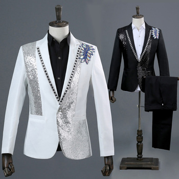 Men's Stage Costume Set Singer Studio Photo Theme Photo Inlay Colorful Diamond Sequins Slim Fit Trousers Two-Piece Set