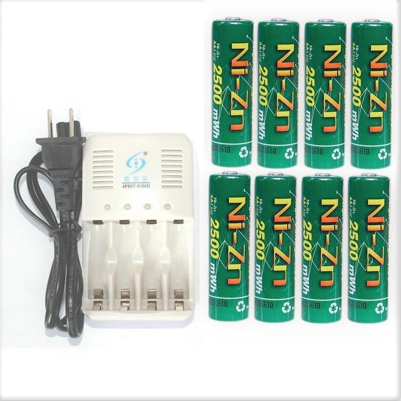 8 шт. NIZN АА Перезаряжаемые Батарея 2500mWh 1,6 В с 1 шт. ЕС США Plug Ni-Zn NiMH Зарядное устройство зарядки 2-4 шт. AA или AAA