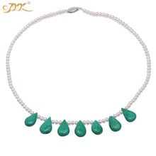 JYX 4mm Natural White Freshwater Cultured Pearl Necklace with Green Oval Turquoise Pendant Single-Strand Handmade AAA 37