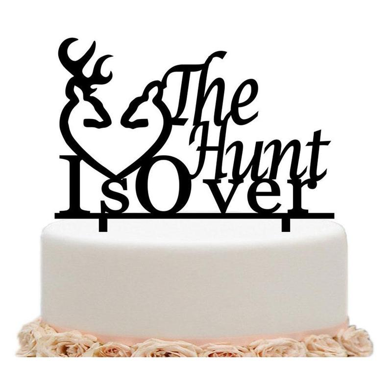 Buck and Doe Heart Cake Topper The Hunt Is Over Buck and Deer Heart Acrylic Cake Topper for Wedding Decor Cake Topper WED6498