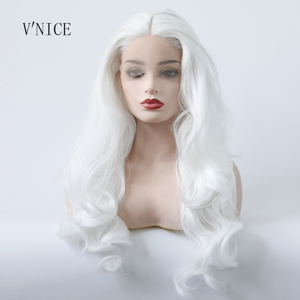 V NICE Middle Part Wig Hand Tied Snow White Color Wig Synthetic Lace Front Hair Wig