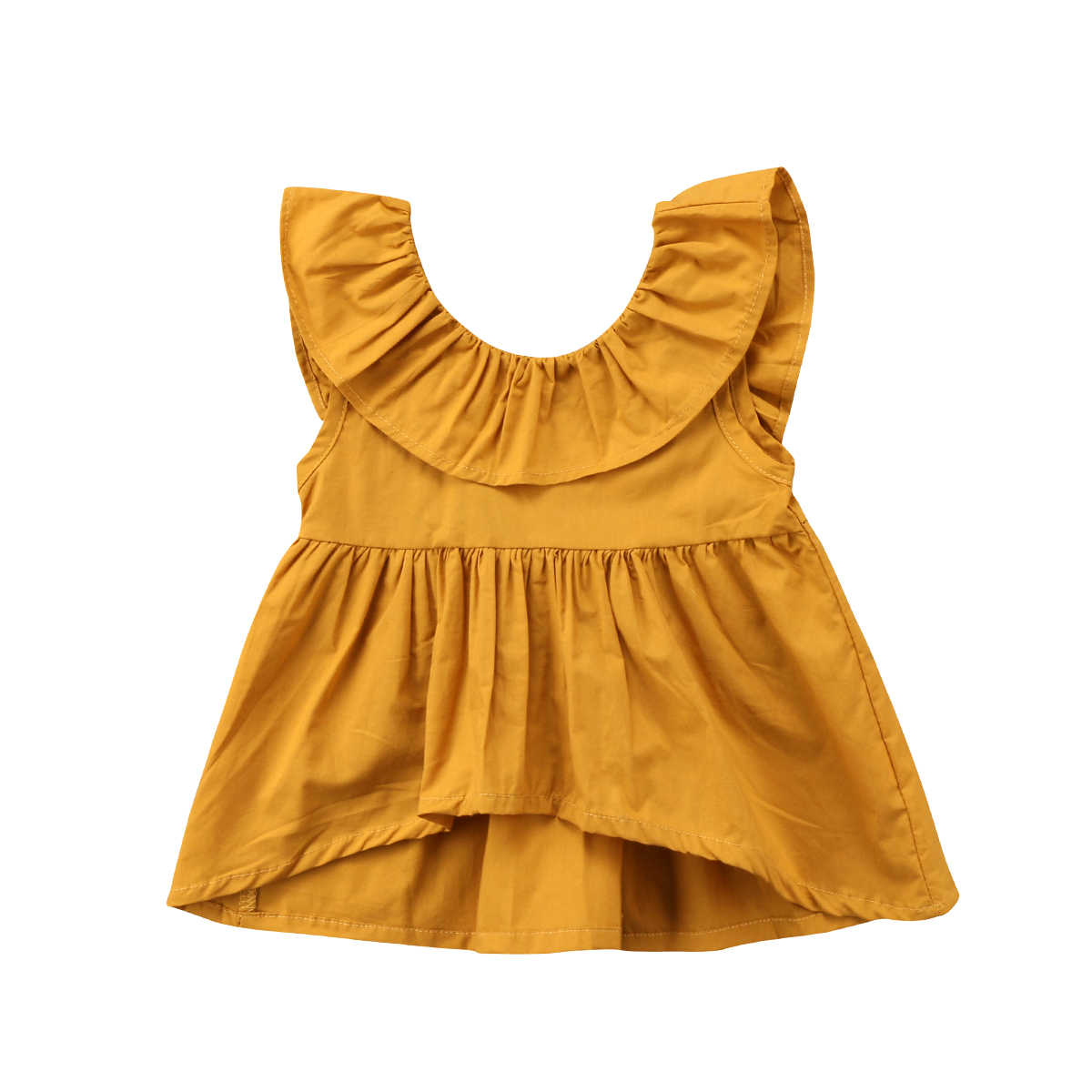 3b7f14f8f53e Detail Feedback Questions about 2018 Kids Baby Girl Ruffle Mini Dress Crop  Yellow Top Blouse Sundress Summer Clothes Cute Clothing on Aliexpress.com  ...