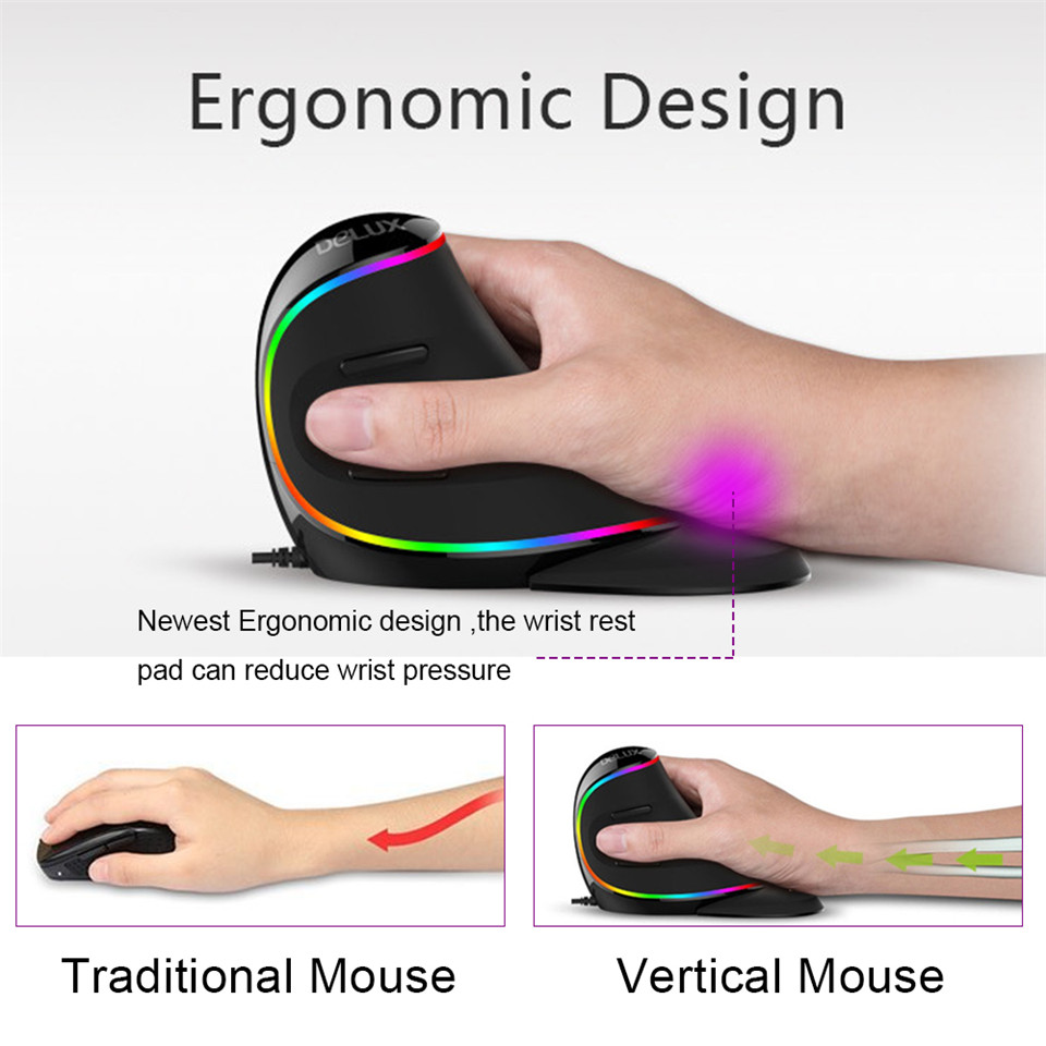 Ergonomics Vertical Gaming Mouse 6 Buttons 4000 DPI RGB Wired/Wireless Right Hand Mice For PC Laptop Computer 2