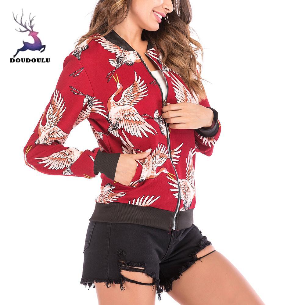Female Autumn Winter Women's Bird Print Baseball Daily Casual High Quality Zipper Cardigan Jacket women winter coat plus size