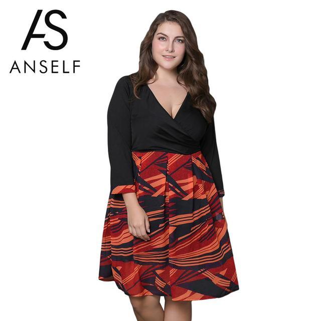 ANSELF Autumn Sexy Women Plus Size Dresses female Evening Elegant Party  Dress Long Sleeve V Neck dec38df73