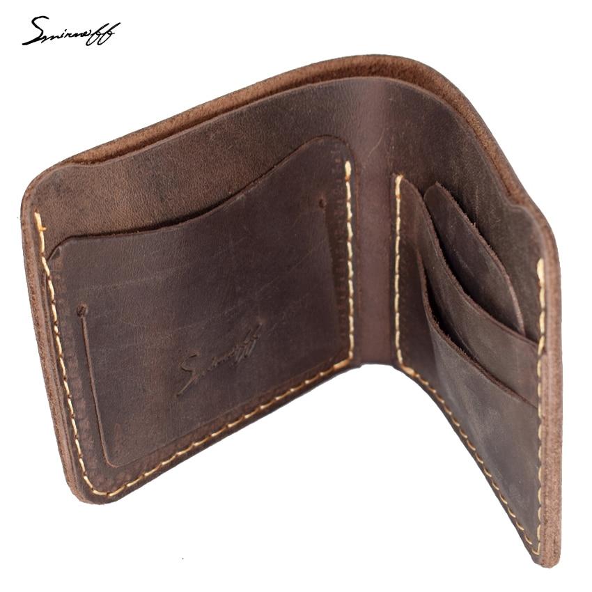 30dc1c25557b1 SMIRNOFF Handmade Leather Men Wallet Best Gift For Man Retro Short Genuine  Leather Male Wallet Support Custom Name Purse