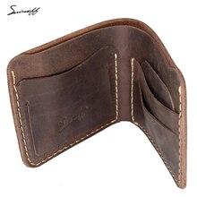 SMIRNOFF Handmade Leather Men Wallet Best Gift For Man Retro Short Genuine Leather Male Wallet Support Custom Name Purse