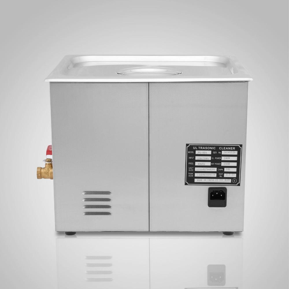 New Powerful Stainless Steel Ultrasonic Cleaner 10L Liter 490W Digital Timer Heater