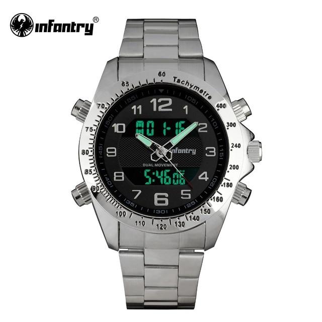 ab5ae5db395 INFANTARIA Militar Assista Men Quartz Digital Pulseira de Prata Do Exército  Esporte relógio de Pulso Dos