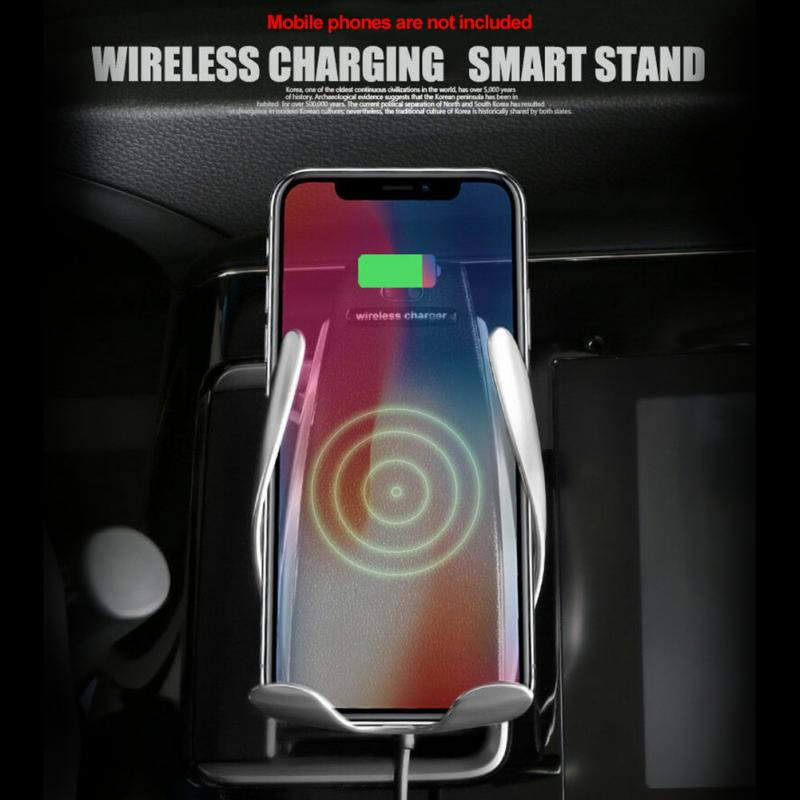 Smart Sensor Car Wireless Charger S5 stand by QC Qi 10W Fast Charging Intelligent Infrared Wirless Charging Car Phone Holder car seat