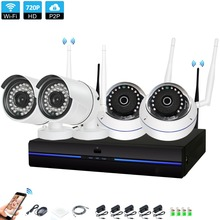 4CH Wireless NVR 720P CCTV System  4PCS 1.0MP  indoor outdoor Wifi IP CCTV Security Camera System Surveillance Kit