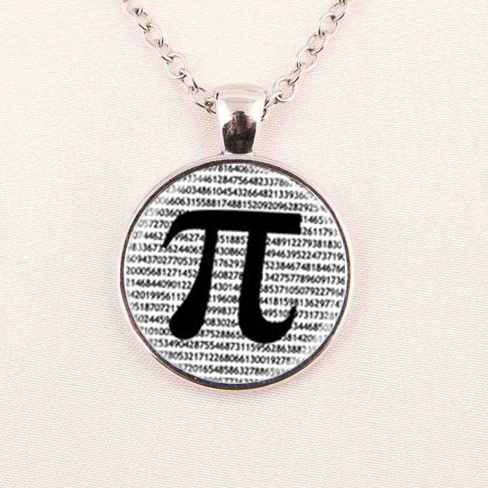 glass dome jewelry PI Necklace Math Jewelry, Black and White Art necklace