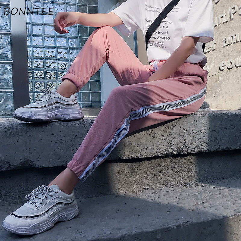 Pants Women Summer Spring 2020 Patchwork Pockets Loose Casual Womens Ankle-Length Harem Trousers All-match Korean Style Ladies