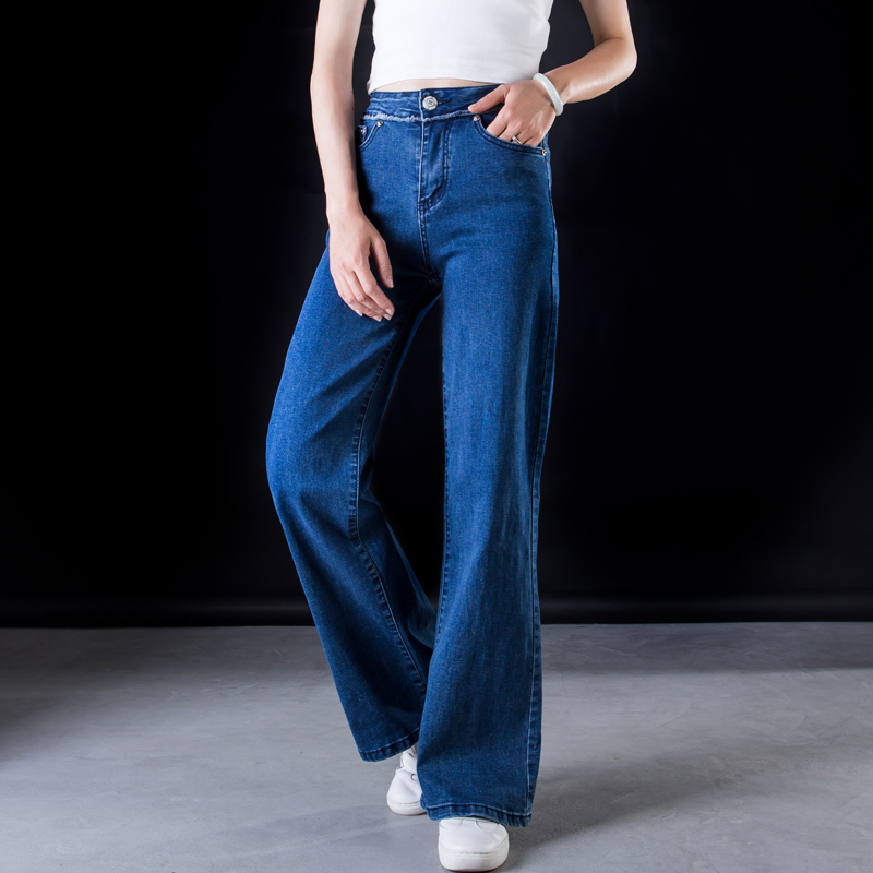 ACRMRAC Women jeans New Spring and autumn High waist blue Stitching Slim Loose Large size Full Length Wide leg pants jeans Women 3