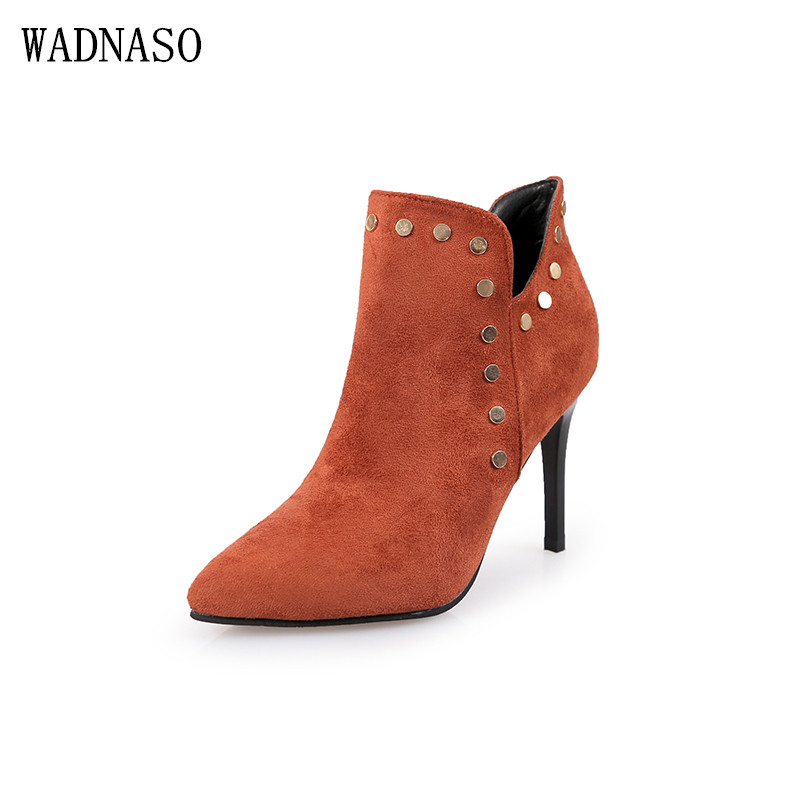 Autumn&Winter Fashion Pu Leather Ankle Boots Pointed Toe 9.5cm High Thin Heels Zipper Solid River S Sexy Women Casual Boots